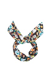Topshop Bright Floral Print Headband Navy Blue