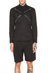 Givenchy Zipper Button Down Shirt In Black