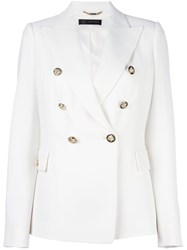 Versace Fitted Double Breasted Blazer White