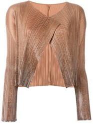 Issey Miyake Vintage Pleated Open Front Jacket Brown