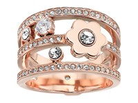 Michael Kors In Full Bloom Floral And Crystal Accent Stacked Ring Rose Gold Ring