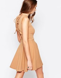 Daisy Street Skater Dress With Lace Up Back Beige