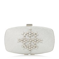 Roland Cartier Bellah Pearl Encrusted Clutch Bag Silver