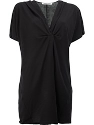 Lamberto Losani Long Length V Neck Top Black