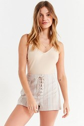 Urban Outfitters Uo Tess Striped Lace Up Short Neutral Multi