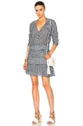 Veronica Beard Campbell Ruched Sleeve V Neck Dress In Blue Checkered Blue Checkered