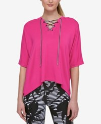 Tommy Hilfiger Sport Lace Up Top Only At Macy's Fuschia