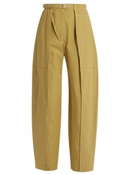 Christophe Lemaire High Rise Wide Leg Cotton Cargo Trousers Beige