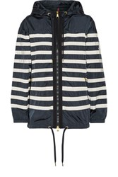 Moncler Hooded Striped Shell Jacket Midnight Blue
