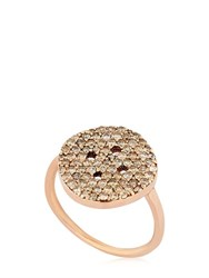 Buja Button Ring With Pave Champagne Diamonds
