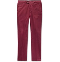Canali Slim Fit Stretch Cotton Twill Chinos Red