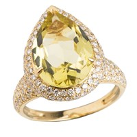 Emily Mortimer Jewellery Aqua Lemon Quartz And Diamond Ring Gold Yellow Orange