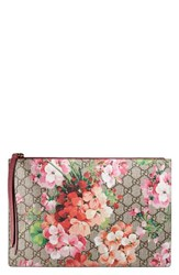 Gucci Gg Blooms Large Canvas And Suede Pouch