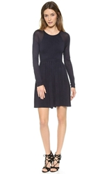 4.Collective Pleated Long Sleeve Sweater Dress Navy