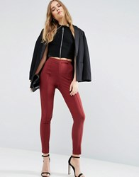 Asos High Waist Trousers In Skinny Fit Port Red