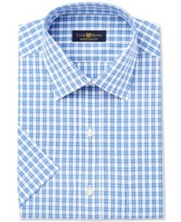 Club Room Men's Classic Regular Fit Pink Blue Cross Short Sleeve Dress Shirt Only At Macy's