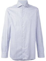 Ermenegildo Zegna Square Check Shirt Blue