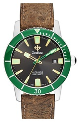 Zodiac 'Sea Wolf' Automatic Leather Strap Watch 40Mm Brown Green Black