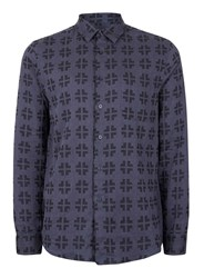 Topman Blue Navy Jacquard Cross Casual Shirt