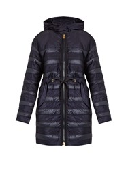 Moncler Scille Hooded Panelled Quilted Down Coat Blue