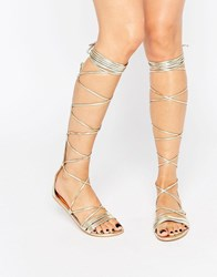 Daisy Street Lace Up Gladiator Flat Sandals Gold Metallic