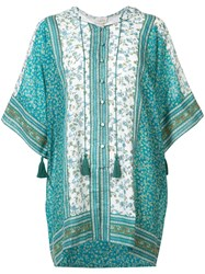 Talitha Indian Flower Print Kaftan Women Silk Cotton S M Green