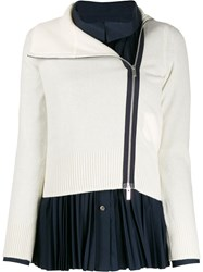 Sacai Zipped Fitted Cardigan White