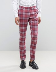 Noose And Monkey Super Skinny Suit Trousers In Check Pale Pink