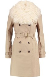 Tory Burch Shearling Trimmed Cotton Trench Coat Beige