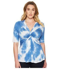 Kiyonna Caycee Twist Top To Dye For Women's Short Sleeve Pullover
