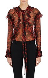 Givenchy Women's Ruffle Trimmed Chiffon Blouse No Color