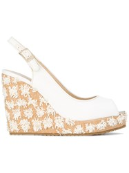 Jimmy Choo Prova Slingback Wedge Sandals White