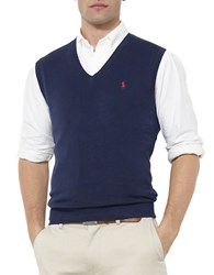 Polo Ralph Lauren Pima Cotton V Neck Sweater Vest Newport Navy