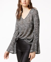 Bar Iii Lace Up Bell Sleeve Top Created For Macy's Charcoal Grey