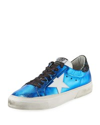 Golden Goose May Star Metallic Leather Low Top Platform Sneakers Blue White