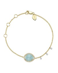 Meira T 14K White And Yellow Gold Milky Aquamarine And Diamond Bracelet Blue Gold