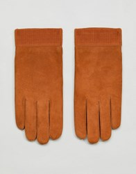 Weekday Leather Gloves Camel Blue Brown