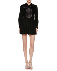 Miu Miu Embroidered Long Sleeve Shirtdress Black