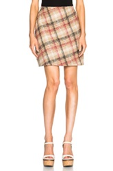 Carven Zipper Mini Skirt In Neutrals Checkered And Plaid