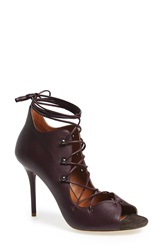 Malone Souliers 'Savannah' Lace Up Peep Toe Bootie Women Decanter Leather Suede