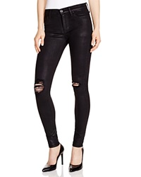 Hudson Nico Destructed Waxed Super Skinny Jeans In Black Bloomingdale's Exclusive Black Wax Destructed
