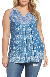 Lucky Brand Plus Size Women's Floral Lace Yoke Tank