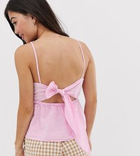 New Look Petite High Neck Cami In Bright Pink