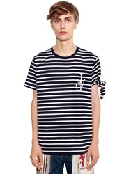 J.W.Anderson Logo Embroidered Striped Jersey T Shirt Navy Off White