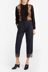 Tibi Lace Trim Trousers Navy