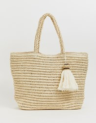 Pimkie Structured Knitted Tote Bag With Tassel Detail Beige