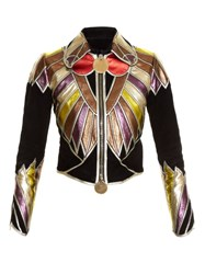 Givenchy Patchwork Leather And Suede Jacket Black Multi