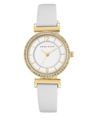 Anne Klein Round Crystal Analog Strap Watch White