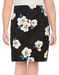 Lord And Taylor Plus Floral Pencil Skirt Moonless Night
