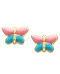Macy's Children's 14K Gold Earrings Pink And Blue Butterfly Stud